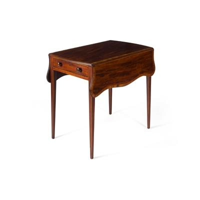 Lot 130 - GEORGE III MAHOGANY AND KINGWOOD PEMBROKE TABLE