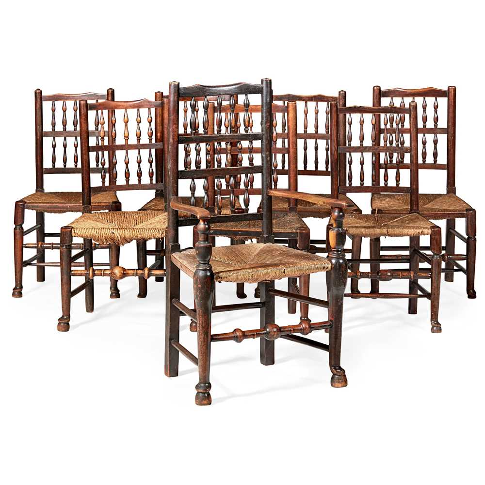 Lot 56 - ASSEMBLED SET OF SEVEN SPINDLE BACK CHAIRS