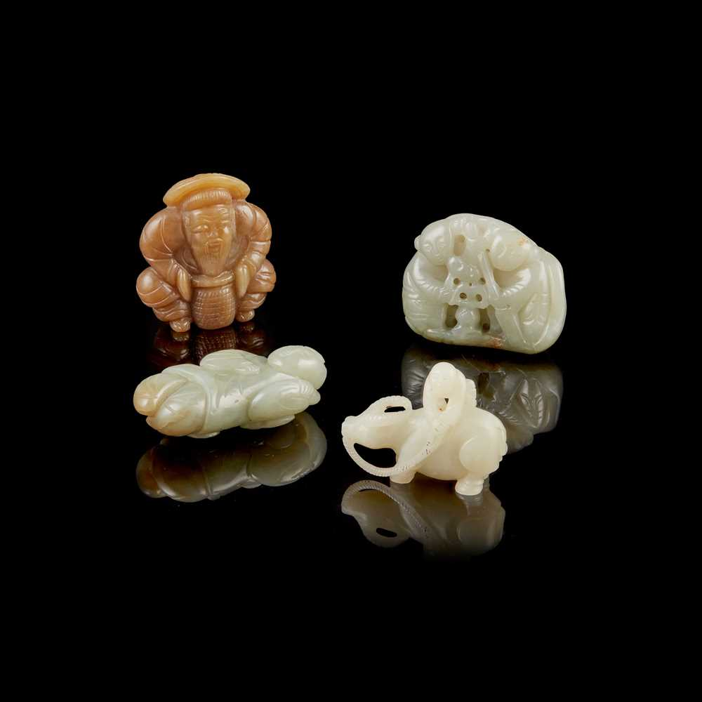 Lot 64 - GROUP OF FOUR 'FIGURAL' JADE CARVINGS