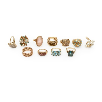 Lot 169 - A collection of eleven gold and gem-set rings