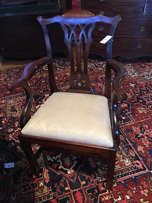 Lot 127 - SET OF EIGHT GEORGE III STYLE MAHOGANY DINING CHAIRS