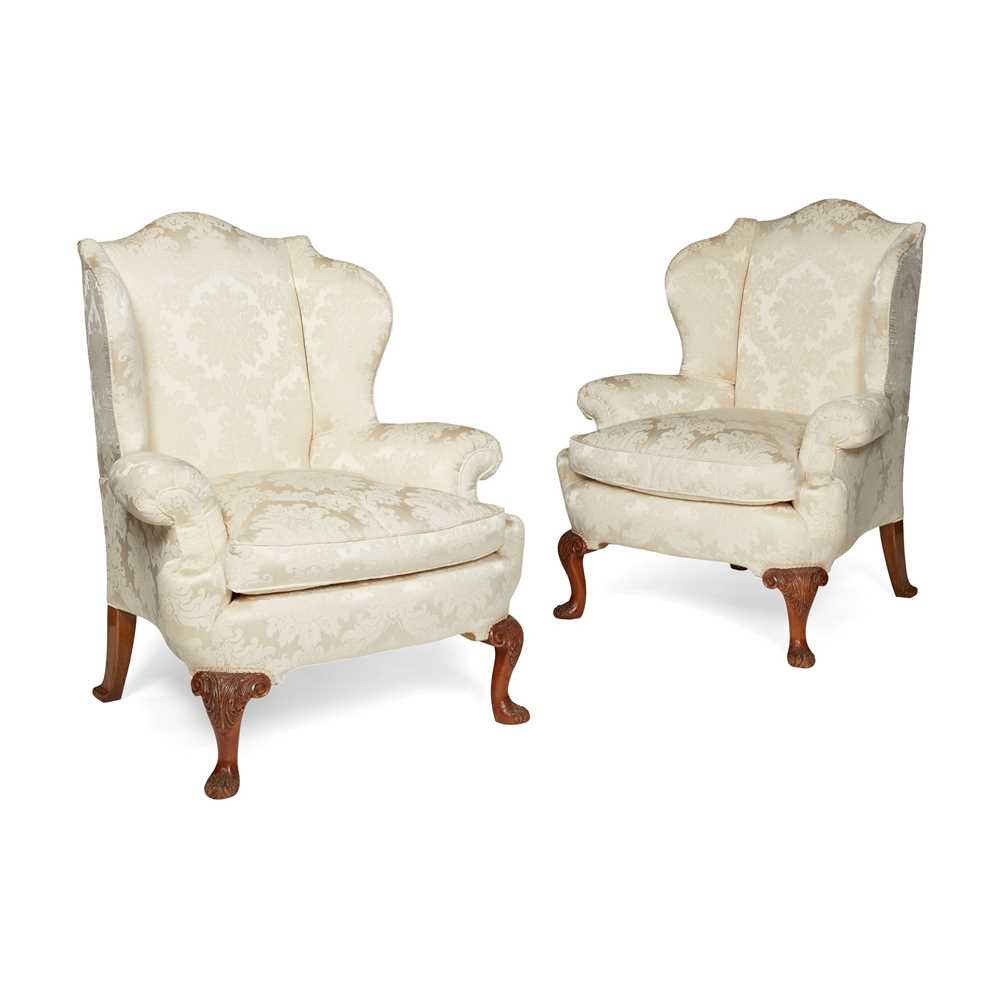 Lot 90 - PAIR OF GEORGE II STYLE WING ARMCHAIRS