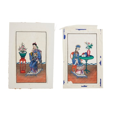 Lot 85 - TWO PITH PAINTINGS OF FIGURES
