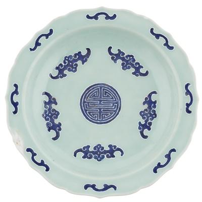 Lot 115 - CELADON-GLAZED BLUE AND WHITE PLATE