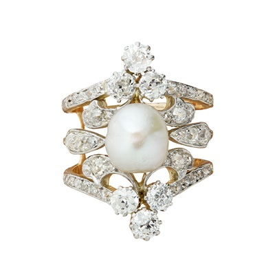Lot 1 - An early 20th century natural pearl and diamond ring