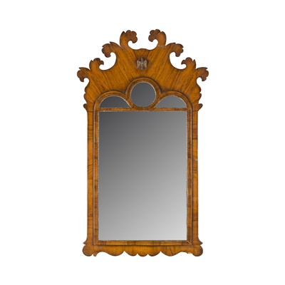 Lot 68 - GEORGE I STYLE WALNUT AND PARCEL GILT MIRROR