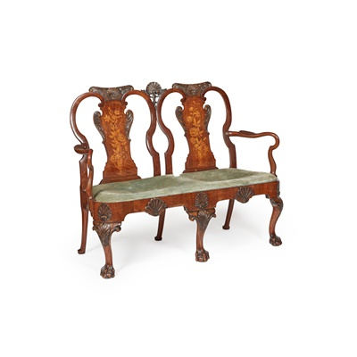 Lot 81 - GEORGE I STYLE WALNUT AND MARQUETRY DOUBLE CHAIRBACK SETTEE