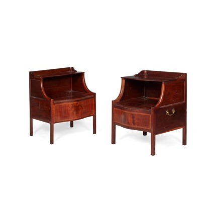 Lot 224 - MATCHED PAIR OF LATE GEORGE III MAHOGANY BEDSIDE COMMODES