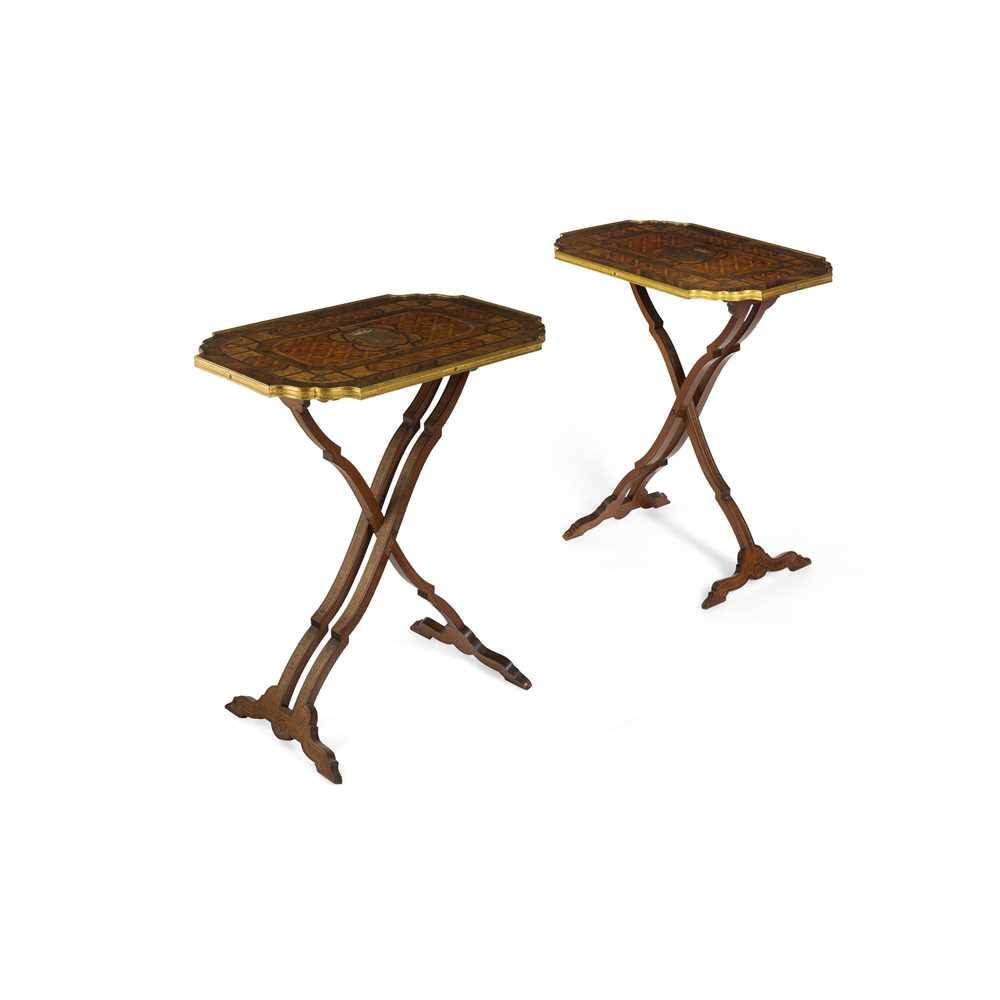Lot 24 - PAIR OF ROSEWOOD MARQUETRY, MOTHER-OF-PEARL, SILVER METAL, AND BRASS BANDED OCCASIONAL TABLES