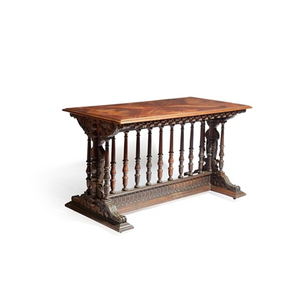 Lot 25 - LATE GOTHIC STYLE MAHOGANY AND MARQUETRY LIBRARY TABLE