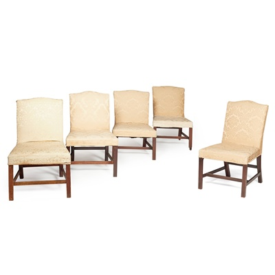 Lot 34 - SUITE OF FIVE GEORGE III MAHOGANY FRAMED SIDE CHAIRS