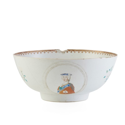 Lot 43 - RARE CHINESE EXPORT PORCELAIN JACOBITE PUNCH BOWL