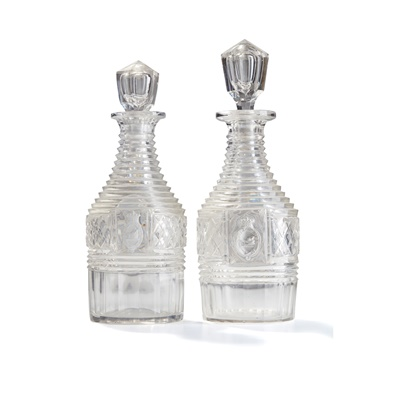 Lot 18 - PAIR OF FULL BOTTLE DECANTERS BEARING THE BREADALBANE CREST AND MOTTO