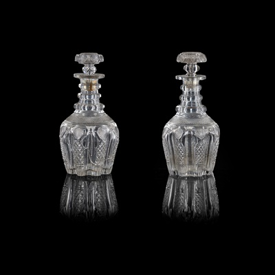 Lot 19 - PAIR OF FULL BOTTLE TRIPLE NECK RING DECANTERS AND A MATCHING HALF BOTTLE DECANTER