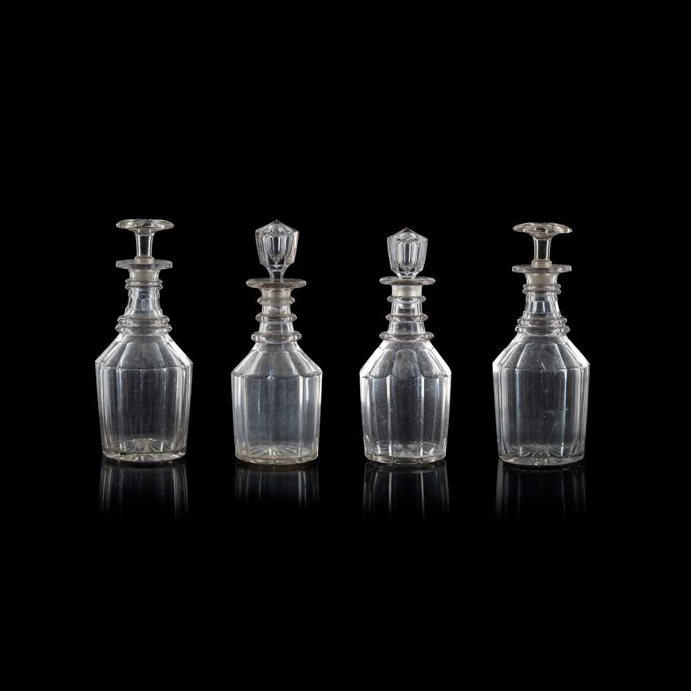 Lot 20 - TWO PAIRS OF GLASS DECANTERS