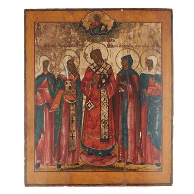 Lot 432 - RUSSIAN ICON,  SAINT JOHN CHRYSOSTOMOS