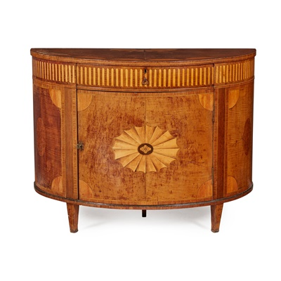 Lot 235 - GEORGE III HAREWOOD AND SATINWOOD DEMI-LUNE COMMODE