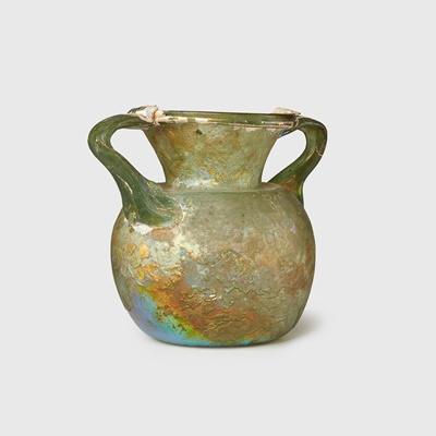 Lot 77 - ROMAN TWIN HANDLED GLASS JAR