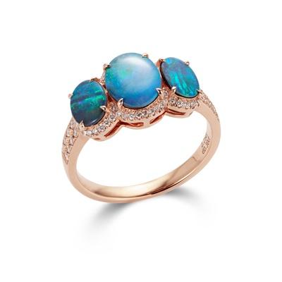 Lot 107 - An opal and diamond three-stone ring