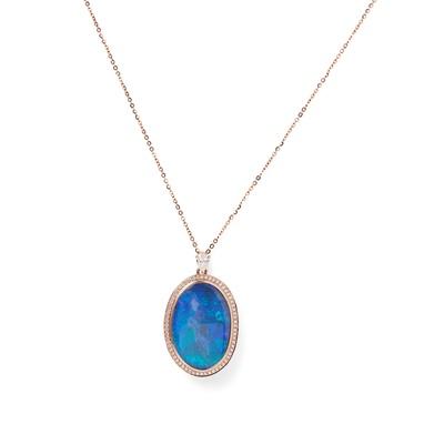 Lot 94 - An opal and diamond set pendant necklace