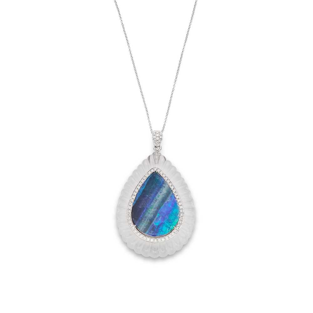 Lot 7 - An opal, diamond and rock crystal pendant