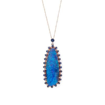 Lot 93 - An opal, diamond and sapphire set pendant