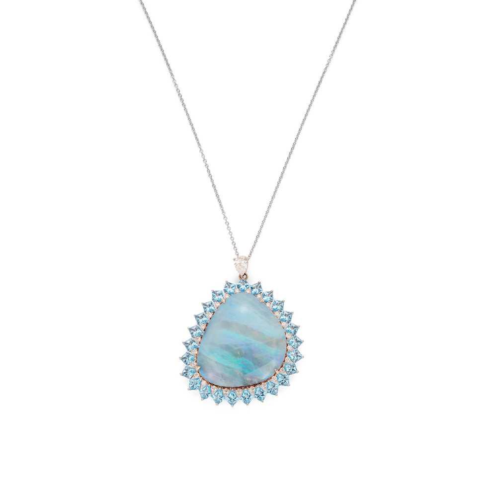 Lot 100 - An opal, topaz and diamond pendant