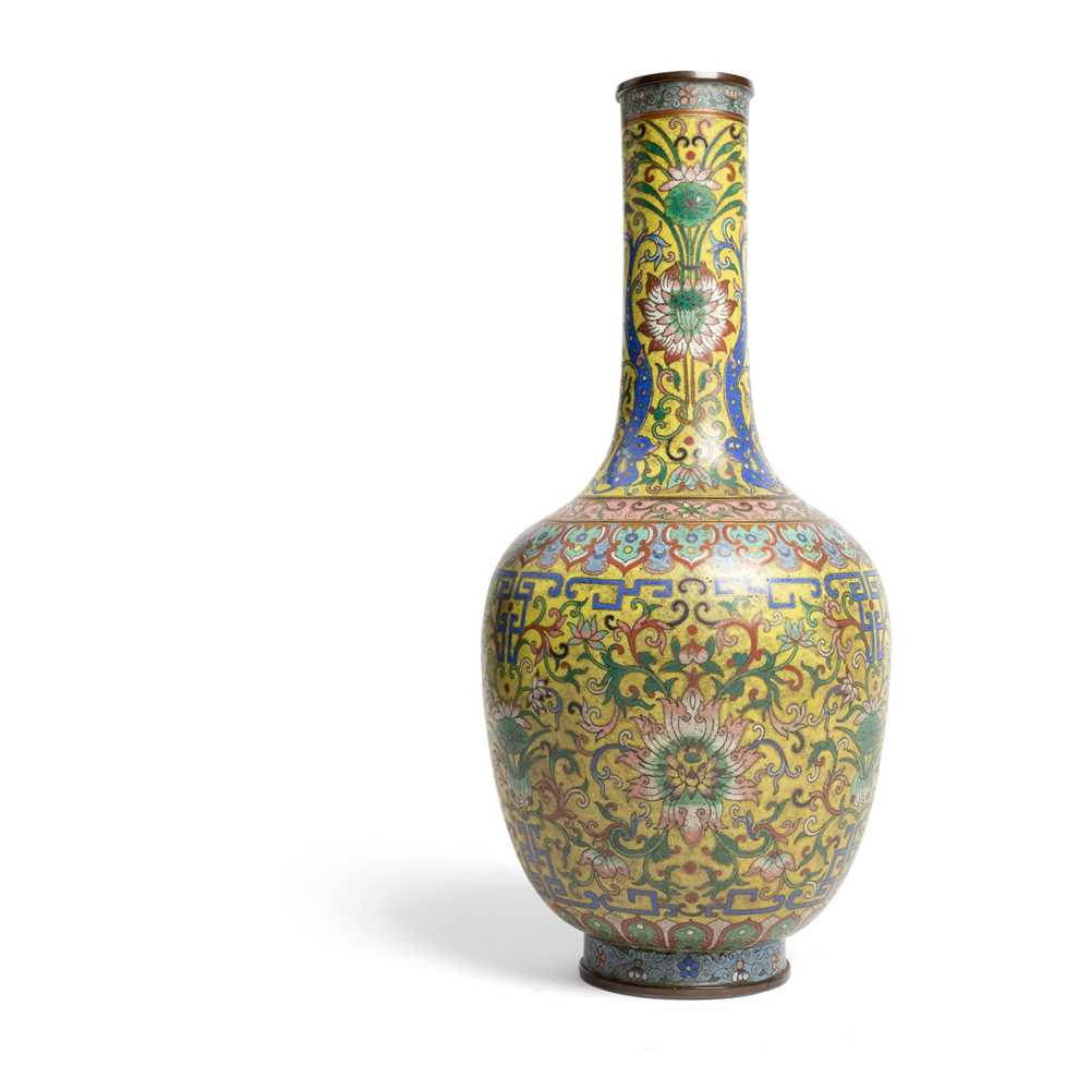 Lot 85 - CLOISONNÉ ENAMEL YELLOW-GROUND BOTTLE VASE