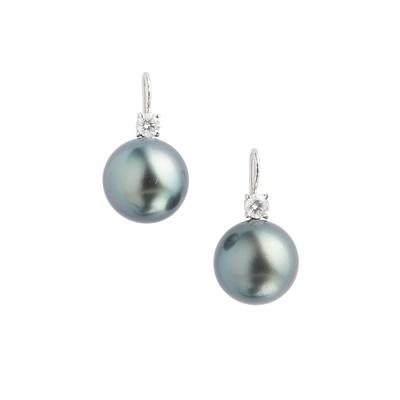 Lot 104 - A pair of black pearl and diamond set pendant earrings