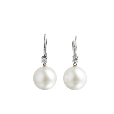 Lot 53 - A pair of South Sea pearl and diamond earrings