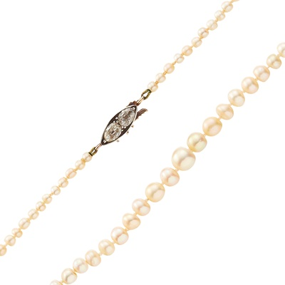 Lot 50 - A natural pearl and diamond set necklace