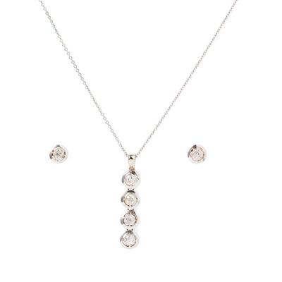 Lot 66 - A diamond pendant and matching earrings