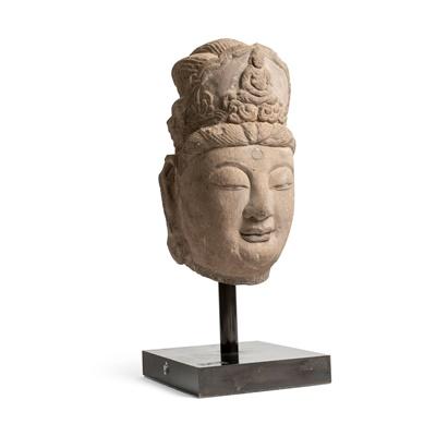 Lot 80 - LARGE SANDSTONE BUDDHIST HEAD