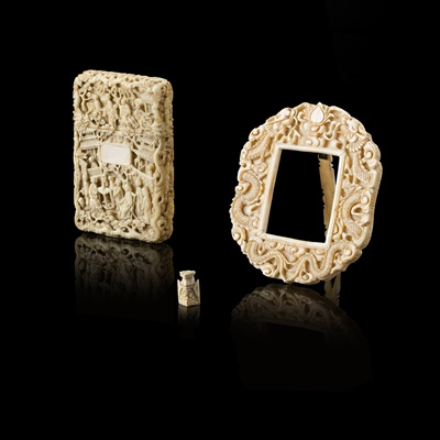 Lot 23 - GROUP OF THREE CARVED IVORY ARTICLES