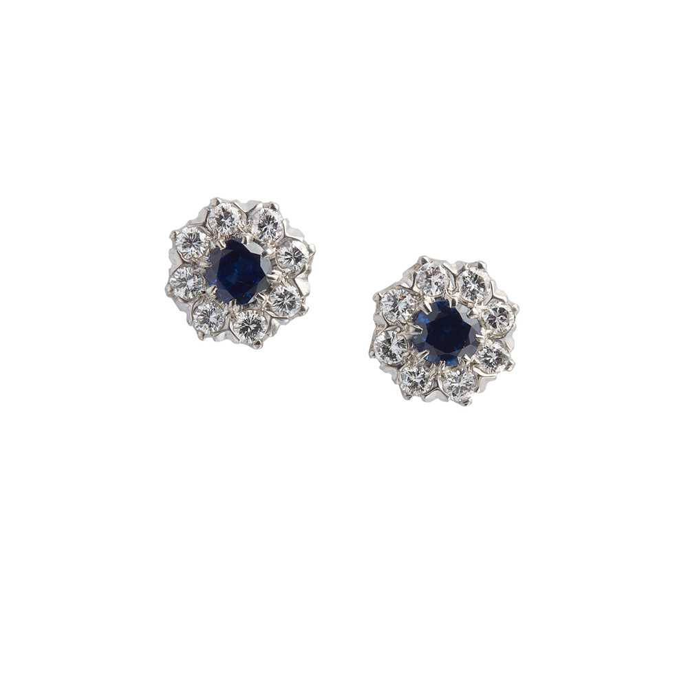 Lot 8 - A pair of sapphire and diamond cluster earrings