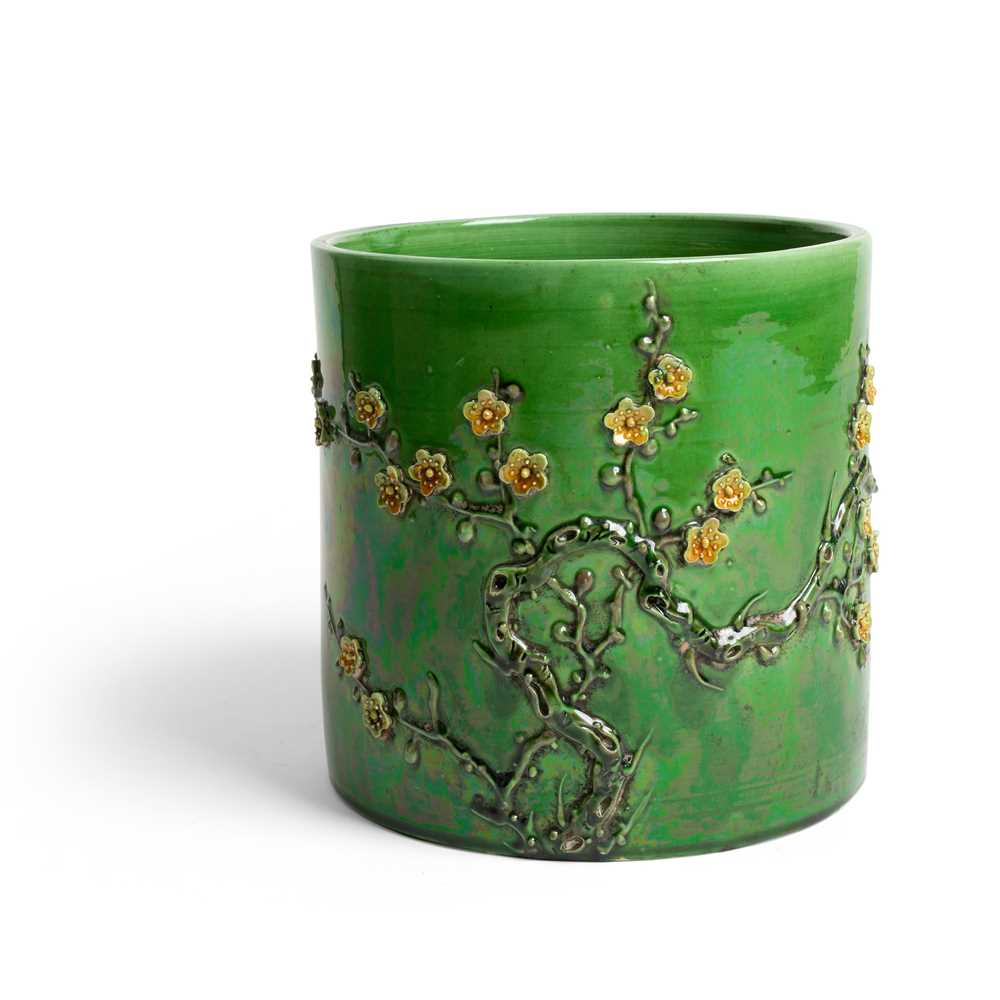 Lot 53 - GREEN AND YELLOW-ENAMELLED BISCUIT BRUSH POT