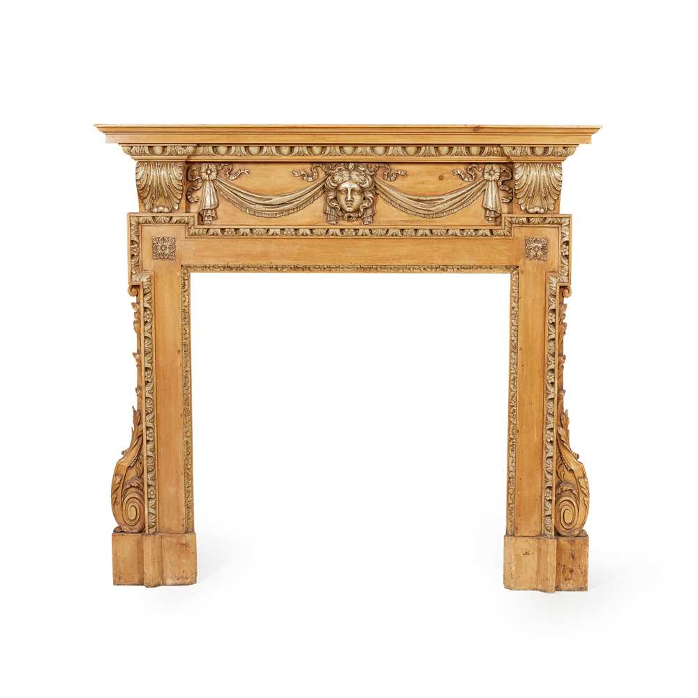 Lot 74 - GEORGE II STYLE CARVED AND PAINTED PINE FIRE SURROUND