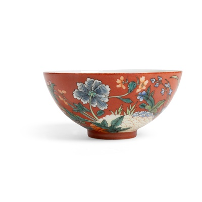 Lot 164 - CORAL-GROUND FAMILLE ROSE BOWL