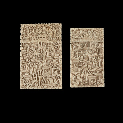 Lot 63 - GROUP OF TWO CANTON IVORY CARD CASES