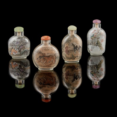 Lot 44 - GROUP OF FOUR REVERSE-PAINTED ROCK CRYSTAL SNUFF BOTTLES