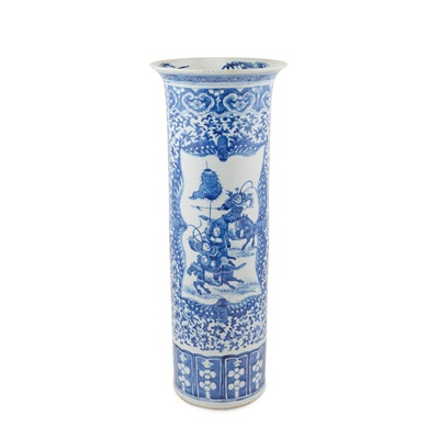 Lot 165 - BLUE AND WHITE 'EQUESTRIAN' STICK-STAND