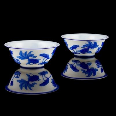 Lot 147 - PAIR OF BLUE-OVERLAY WHITE PEKING GLASS BOWLS
