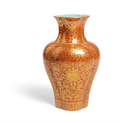 Lot 189 - GILT-DECORATED CORAL-RED GROUND LOBBED VASE
