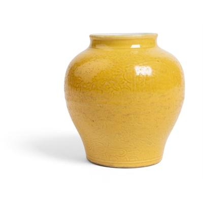 Lot 59 - YELLOW GLAZED 'SCHOLAR' JAR