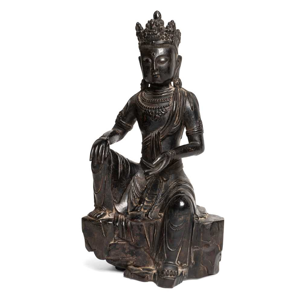 Lot 69 - LACQUERED WOOD CARVING OF SEATED GUANYIN