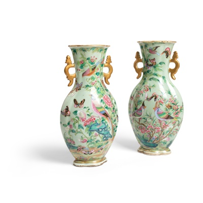 Lot 191 - LARGE PAIR OF FAMILLE ROSE CELADON GROUND VASES