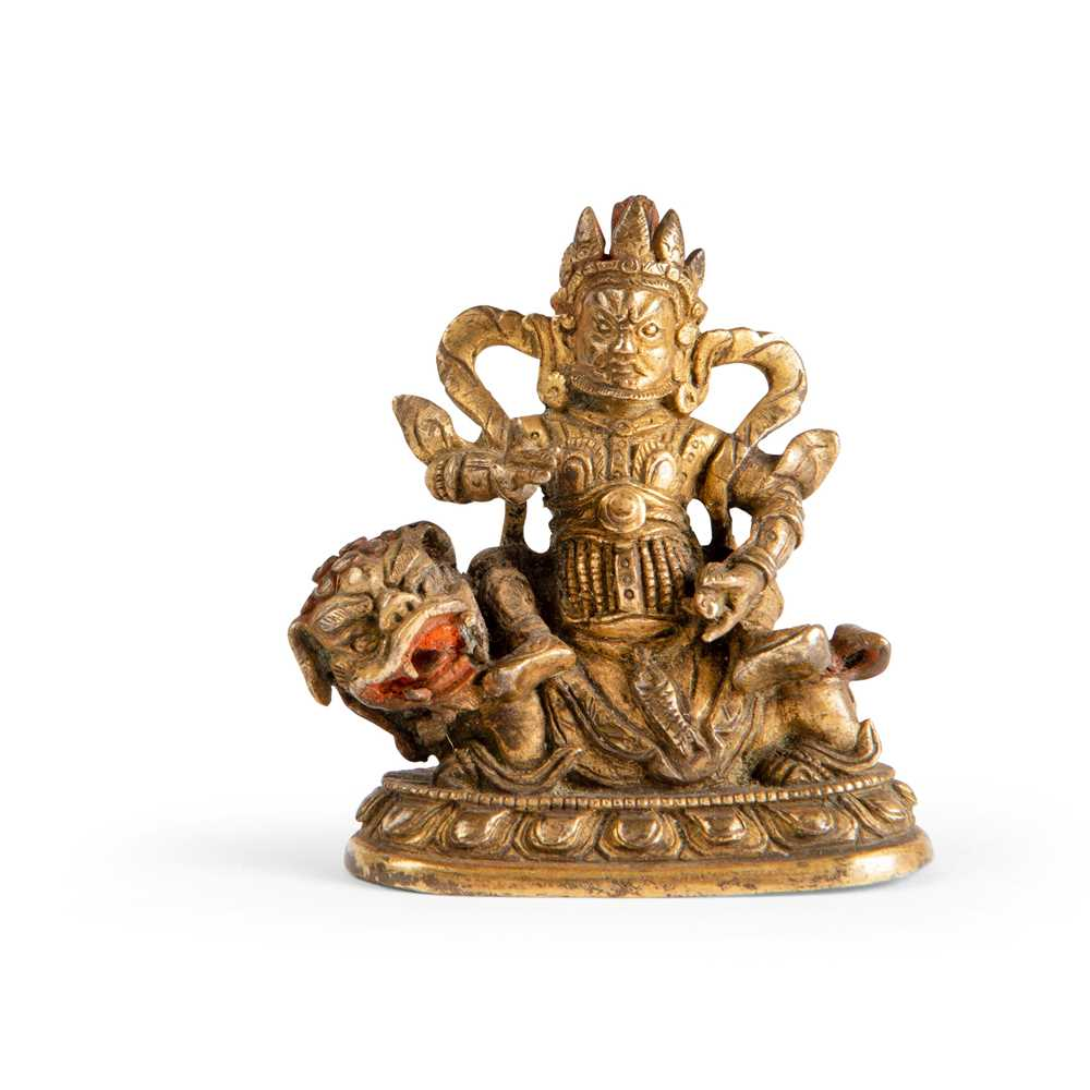 Lot 79 - SMALL GILT BRONZE FIGURE OF VAISHRAVANA