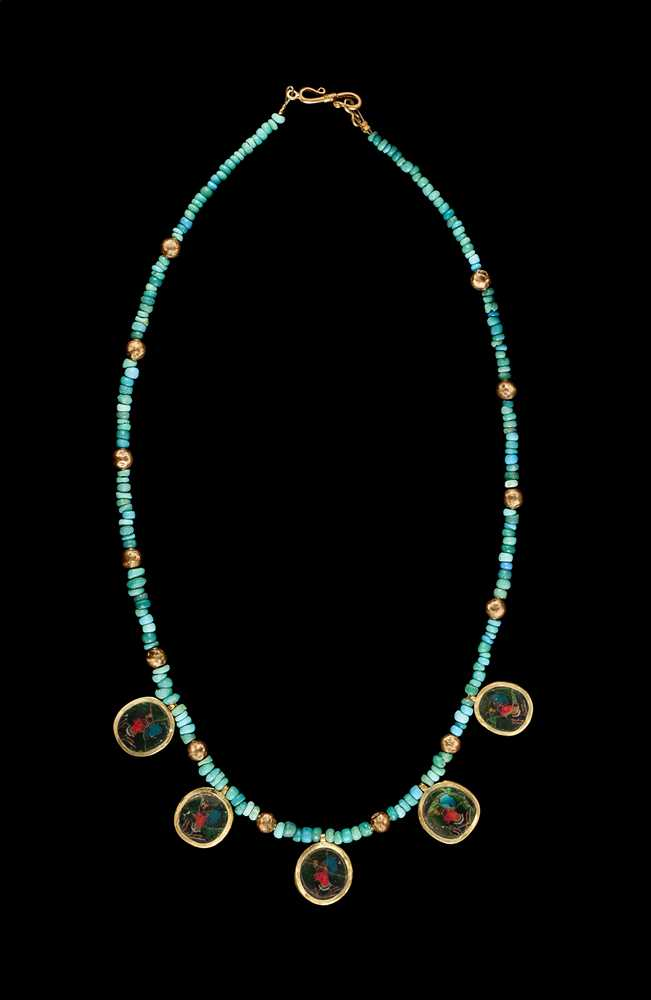 Lot 41 - ANCIENT EGYPTIAN PHARAOH MOSAIC NECKLACE