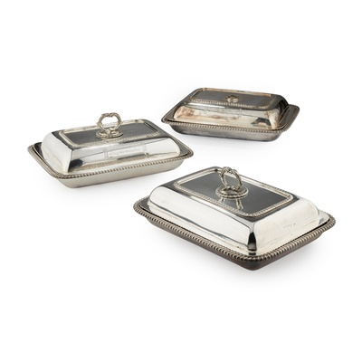 Lot 241 - A MATCHED SET OF THREE GEORGE III ENTRÉE DISHES AND COVERS