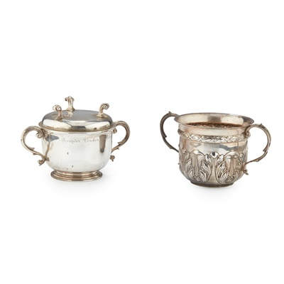 Lot 203 - AN 18TH CENTURY STYLE TWIN HANDLED PORRINGER